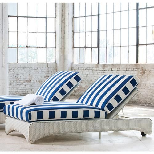 Armless all-weather wicker double chaise lounge with adjustable back. Larger size can accommodate up to 2 people. Offered in choice of standard or premium Lloyd Flanders durium wicker finish.