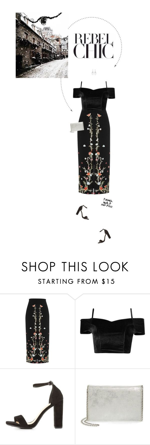 """""""Black, Red & Silver Outfit."""" by xabbielou ❤ liked on Polyvore featuring River Island, Delicious, Chelsea28, Carolee and GET LOST"""