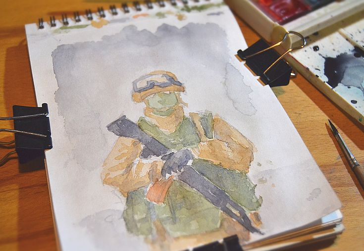 Russian serviceman in the Syria (study) by kosedov