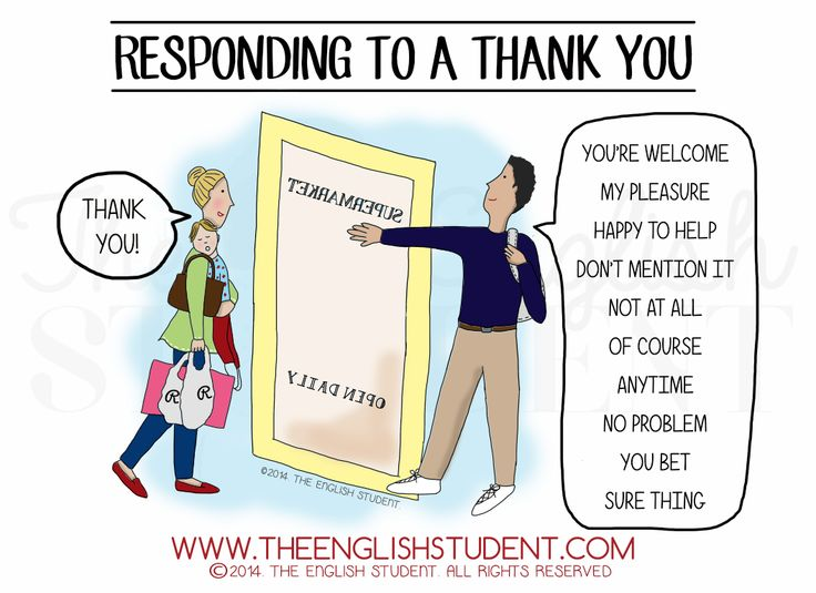 The English Student, www.theenglishstudent.com, the english students, responding to a thank you, different ways to say you're welcome, what does sure thing mean, you're welcome, manners, ESL, ESL culture, ESL vocabulary, ESL blog, ESL websites, learn ESL