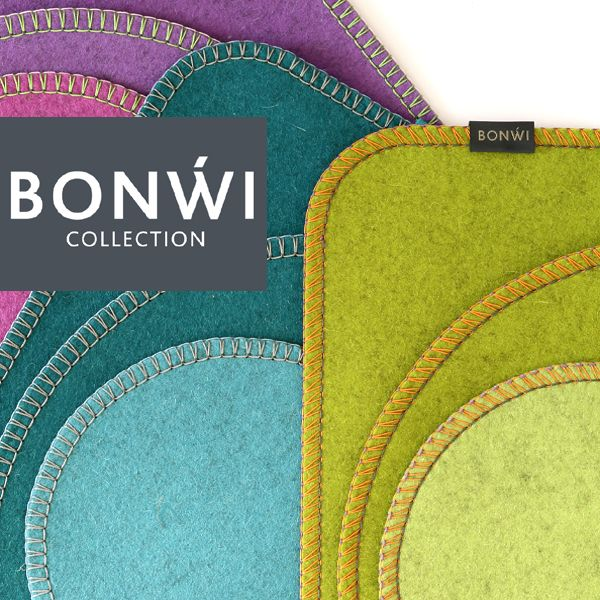 Tischsets aus Wollfilz mit 3 farbigem Kettelrand in sommerlichen Farben