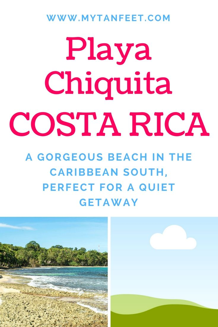 Playa Chiquita is a gorgeous beach in the Caribbean South of Costa Rica near Puerto Viejo de Talamanca. One of our favorite beaches for an escape from the crowds. Click through to read more: https://mytanfeet.com/costa-rica-beach-information/playa-chiquita-costa-rica/      Costa Rica   Costa Rica travel tips   Costa Rica beaches