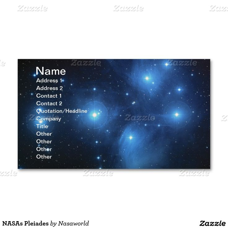 NASAs Pleiades Double-Sided Standard Business Cards (Pack Of 100)