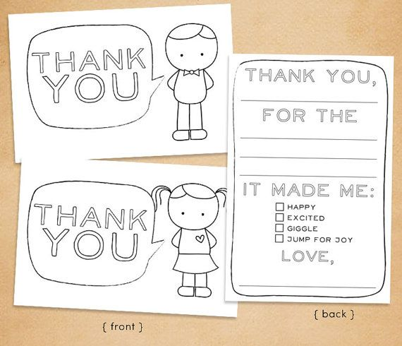 """Printable """"Thank You"""" Card for Kids // Fill in and color. Cute idea."""