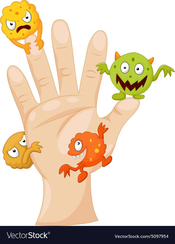 руки с микробами картинка расположен