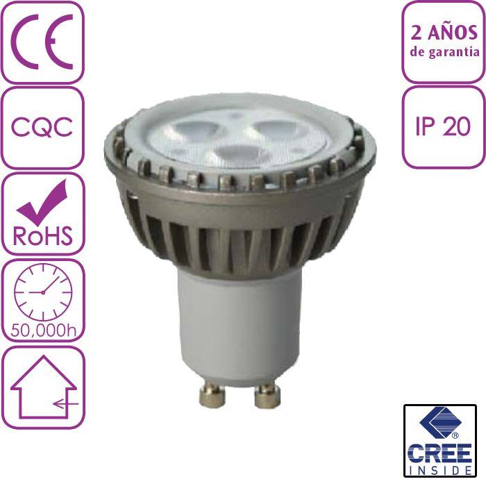 Bombilla LED Dicroica u ojo de buey led 6W GU10 Blanco Frío chip CREE