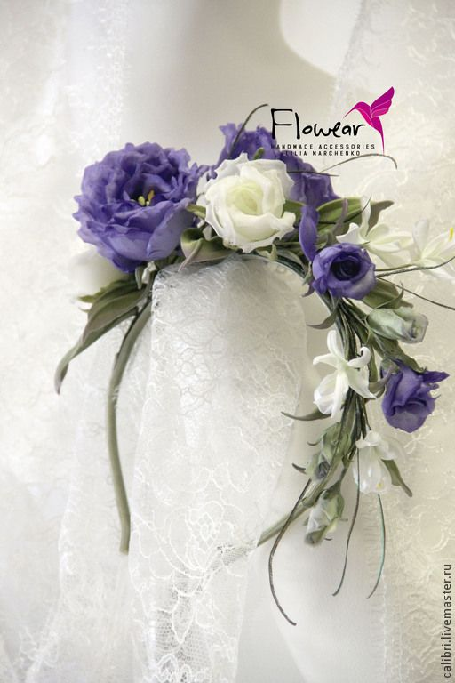 """Купить Цветы из шелка. Ободок для волос - """"Джейн"""". - фиолетовый, белыйс фиолетовым, ободок для волос"""