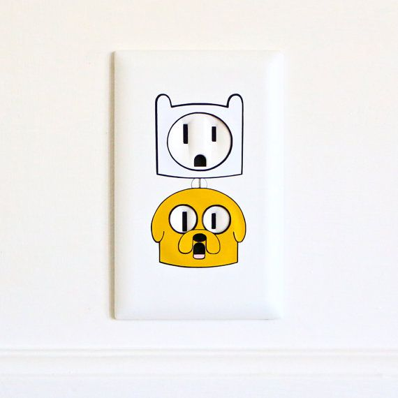 Finn & Jake  Adventure Time  Electric Outlet by ElectricStickerCo