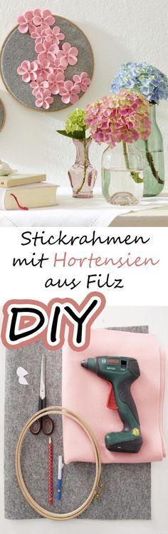 Süße Idee: Stickrahmen mit Hortensien aus Filz Kathi
