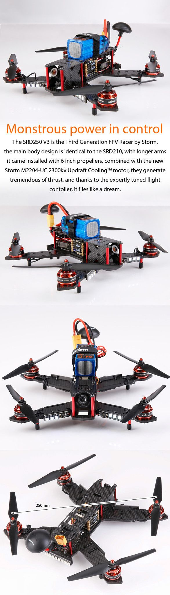 STORM Racing Drone (RTF / SRD250 V3 / TBS PowerCube)