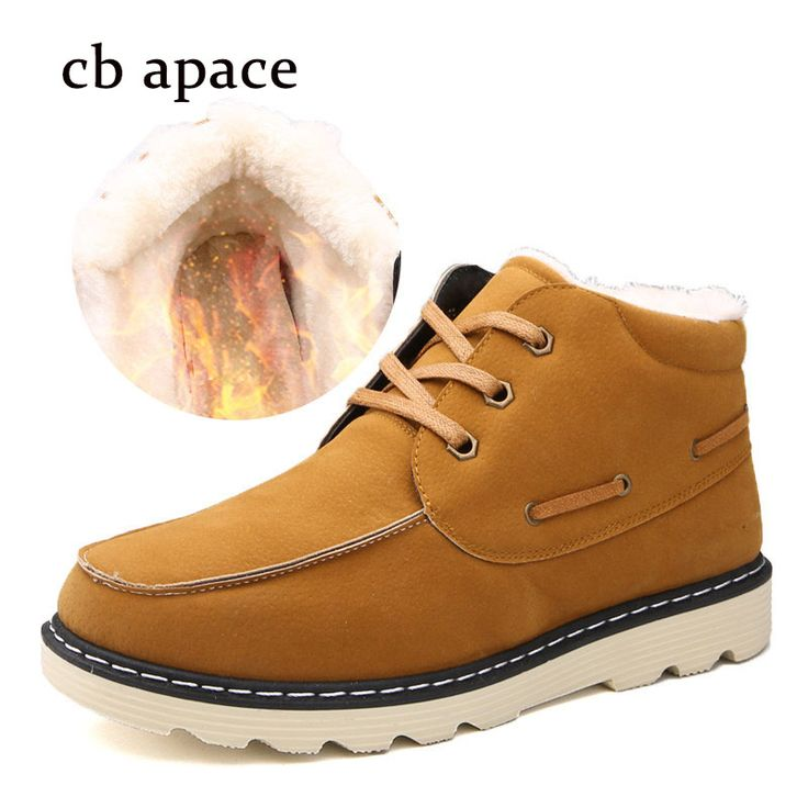 Luxury Brand Men's Snow Boots Men Winter Warm Shoes Flock Slip On Rubber Rain Boots Flat With Round Toe Man Shoes Boats