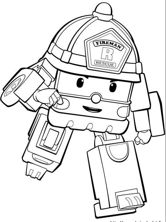 Robocar Poli Coloring Sheet Printable Buku Mewarnai Kartun Warna