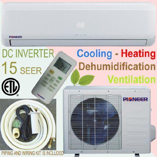 Pioneer Ductless Mini Split INVERTER Air Conditioner, Heat Pump, 18000 BTU (1.5 Ton), 15 SEER, Cooling, Heating, Dehumidification, Ventilation. Including 16 Foot Installation Kit.. 208~230 VAC.
