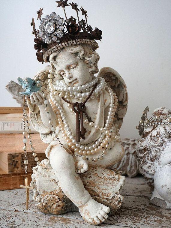 Cherub Angel Blue Bird Statue French Santos Inspired