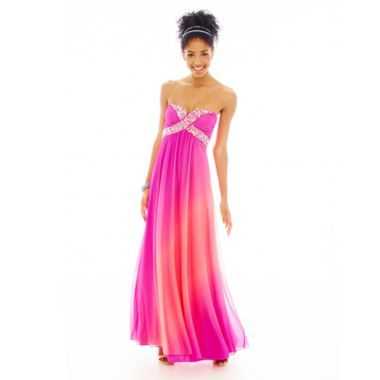 Strapless Cross-Bust Ombré Long prom dress Long Dresses, Ombré Long ...