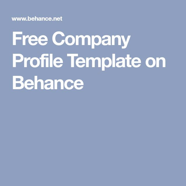 Free Company Profile Template on Behance