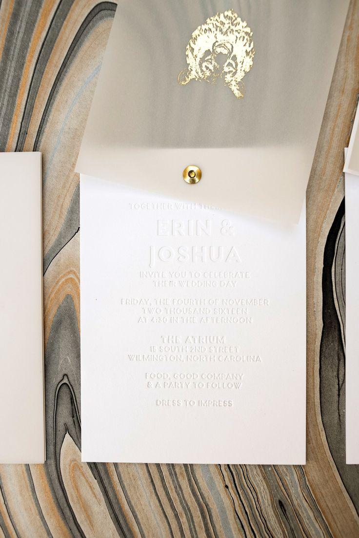 Twist rotating wedding invitation suite gold foil