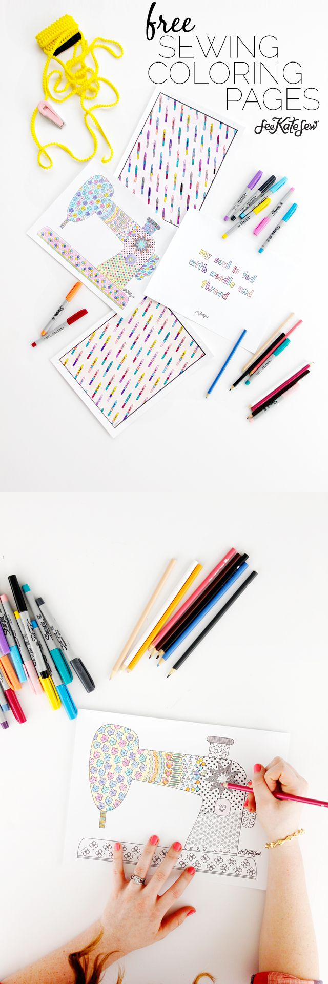 """The coloring page craze is going strong and I have to say I do love coloring! So I made up some sewing themed coloring pages for everyone to enjoy! There are 3 designs, a sewing machine, seam ripper pattern and a sewing quote. The sewing quote is one of my favorites, """"My soul is fed …"""