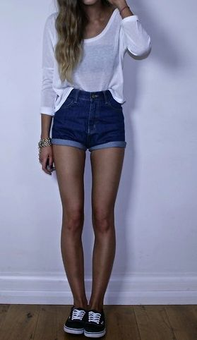 High waisted shorts, sneakers, draft shirt