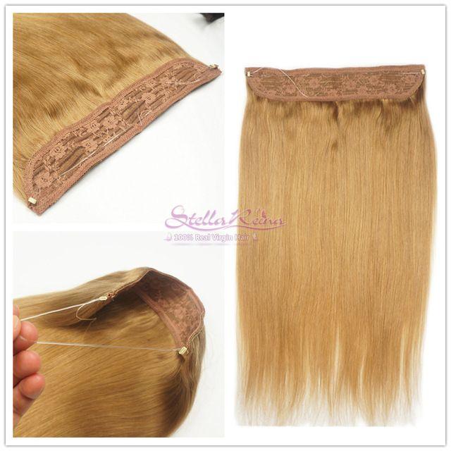Stella Reina Halo Crown Hair Extensions #27 Honey Blonde Brazilian Remy Human Hair Flip In Secret Wire Hair Piece Hair Extension