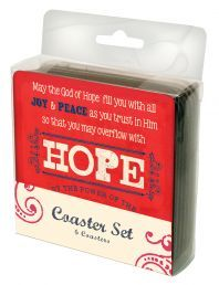 "COASTERS:  JOY,HOPE,GRACE (COA005).  Available from Faith4U Book- and Giftshop, Secunda, SA. Email ""faith4u@kruik.co.za"""