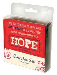 "COASTERS:  JOY,HOPE,GRACE (COA005).  Available from Faith4U Book- and Giftshop, Secunda, SA. Email ""faith4u@kruik.co.za"""