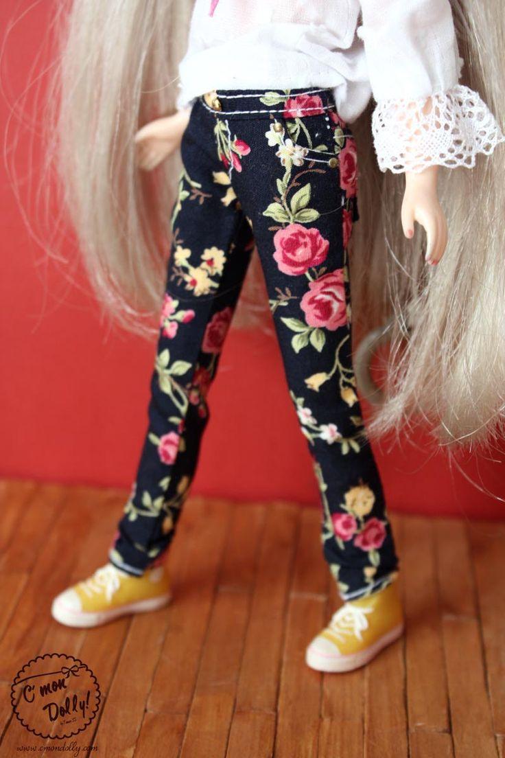 Blythe Black flower print Jeans pants by cmondolly on Etsy
