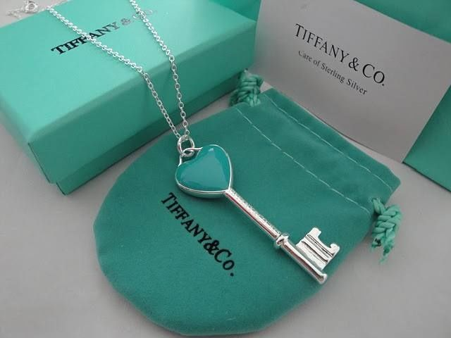 Tiffany Blue Enamel Heart Key Pendant   purchased in Pasadena, CA.