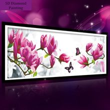 99*37 cm 5D diamant schilderen magnolia bloem DMC 447 kleur diamant borduurwerk vilt diy diamond mozaïek voor thuis decoratie DP140(China (Mainland))