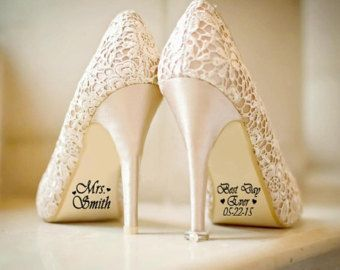 Name and Date Wedding Shoe Sticker Decals Bride and by DinkiDs
