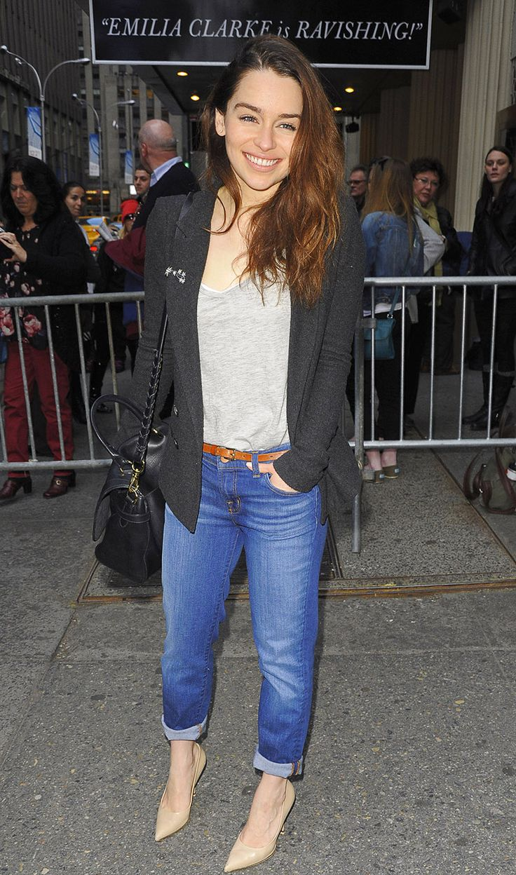 'Game of Thrones' star Emilia Clarke in a cardigan, boyfriend jeans, and single-sole heels - street style doesn't get much better than this!