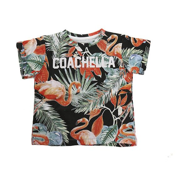 Little Eleven Paris Coachella Flamingo SS Tee ($58) ❤ liked on Polyvore featuring tops, t-shirts, shirts, clothing kids, women, graphic tops, short sleeve t shirt, graphic tees, graphic design tees and short sleeve graphic tees