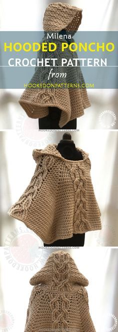 HOODED PONCHO PATTERN - A beautiful crochet poncho. This is my crocheted cable poncho pattern. I hope you like the poncho crochet pattern.