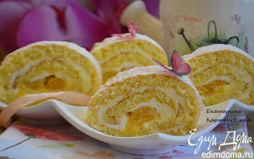 Бисквитный рулет с манго и сметанным кремом | Кулинарные рецепты от «Едим дома!»