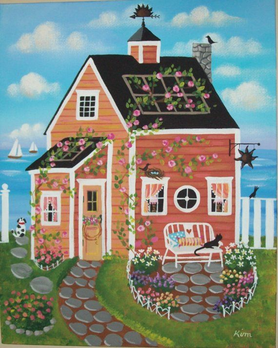Sunset Cove Cottage Folk Art Print by KimsCottageArt on Etsy