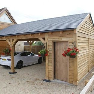 instead of carport, sitting area with fire pit.  roof to be altered..Shaftsbury - Bespoke Green Oak 2 Bay Car Port with side store, doors, roof slates. Delivered and erected includeing VAT