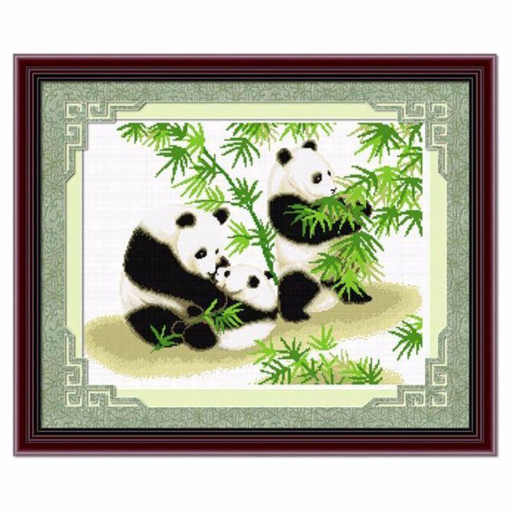 SewCrane Stamped Cross Stitch Kit, Happy Panda Family, 25.6 x 20.9 inches