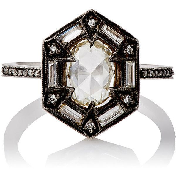 Cathy Waterman Women's White Diamond Hexagonal-Face Ring Siz found on Polyvore featuring jewelry, rings, colorless, clear crystal ring, band jewelry, pave jewelry, clear jewelry and clear rings