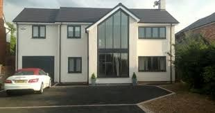 Image result for white rendered house ideas with grey windows