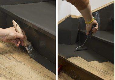 appliquez la 1ere couche de peinture sur l'escalier