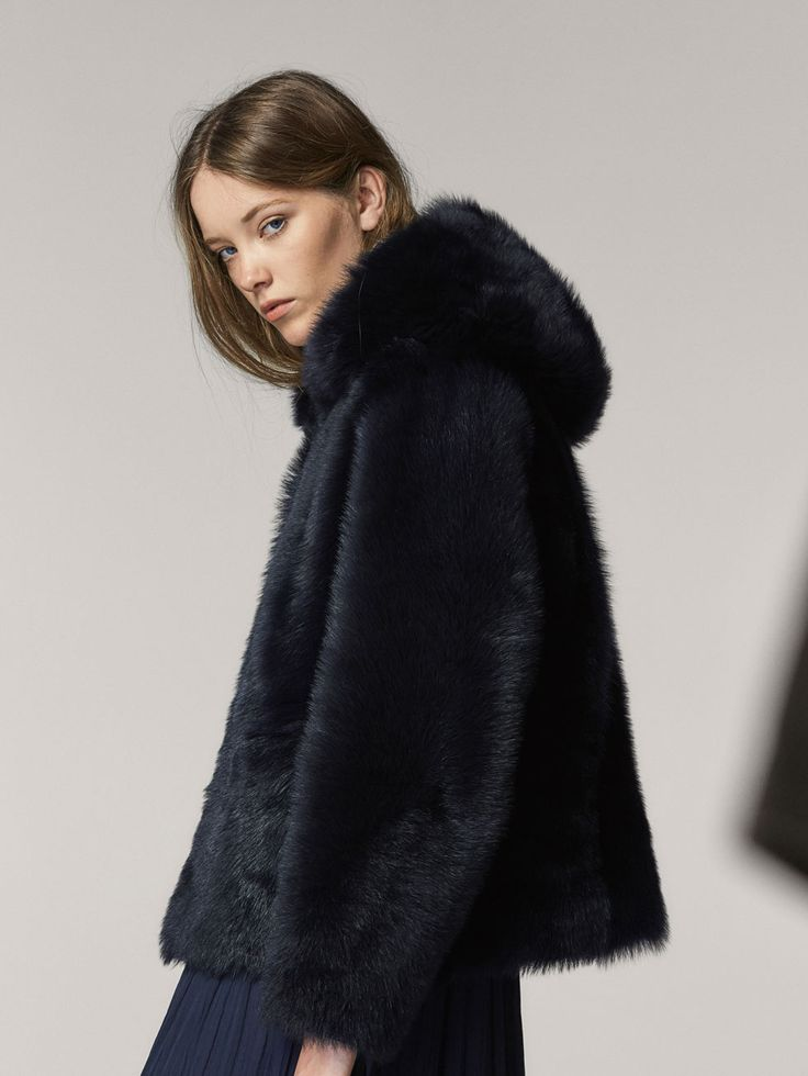 REVERSIBLE FUR JACKET WITH HOOD - Women - Massimo Dutti