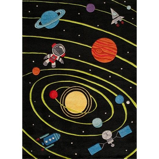 Bring some out-of-this-world fun into your home with the Space Rug. The hand-tufted acrylic material is soft and sturdy with durable 100% cotton backing for long-lasting use that holds up to everyday wear and tear. Featuring an irresistible mix of interstellar figures, from an astronaut to a satellite to Saturn and Mars, the Space Rug beams a galaxy of bright appeal into any child's bedroom or play area.
