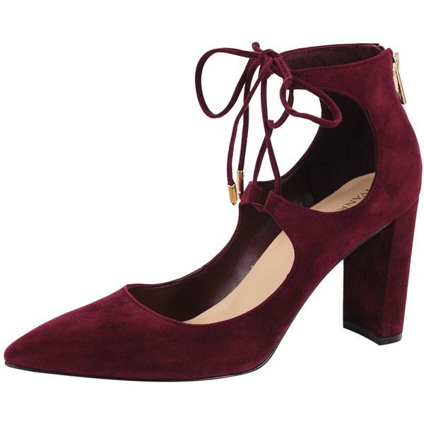 Ivanka Trump Kellsee ($135) ❤ liked on Polyvore featuring shoes, pumps, burgundy suede, suede shoes, suede pointed toe pumps, pointed toe pumps, pointed toe shoes and burgundy high heel shoes