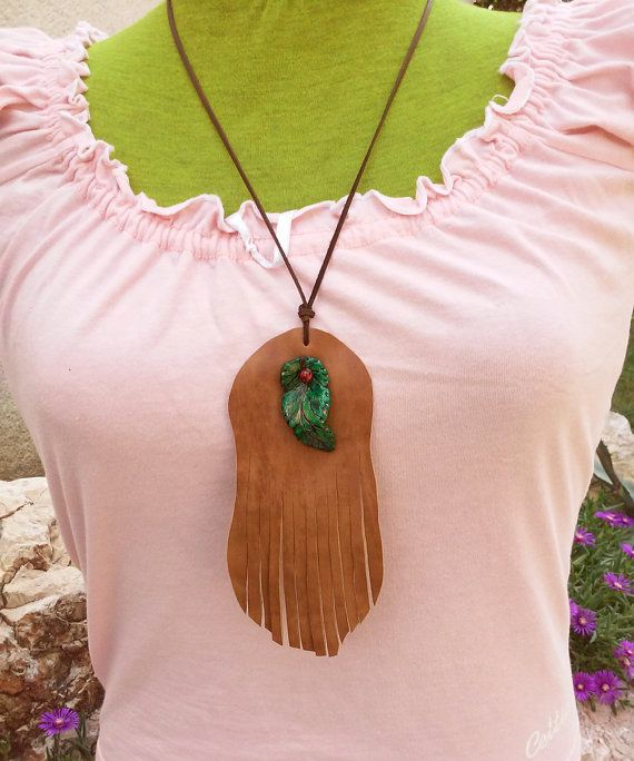Leather fringe necklace, air dray clay pendant, gipsy necklace, fringe boho necklace, fringed leather bohemian festival hippie necklace,