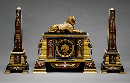 Mantel garniture, ca. 1885 -   French maker, marketed by Tiffany & Co. (1837–present)  Marble, bronze
