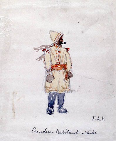Canadian Habitant in the Winter (c. 1858) by Frances Anne Hopkins. #newfrance #historicalfashion