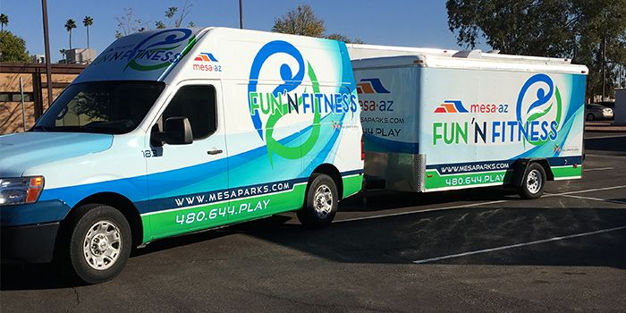 City of Mesa Parks and Recreation Fun N Fitness Mobile Recreation Unit Van and Trailer