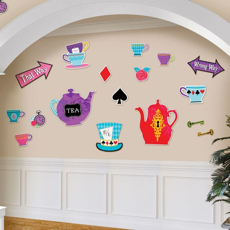 mad hatter teparty invitations pinterest%0A Wonderland Mad Hatter u    s Tea Party Wall Decor Cut outs