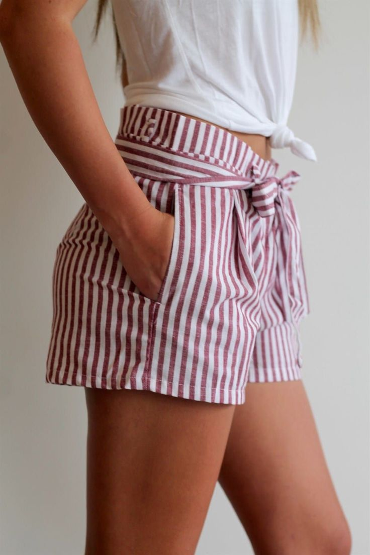 Paper Bag Waist Short | 4 Colors Striped paper bag…