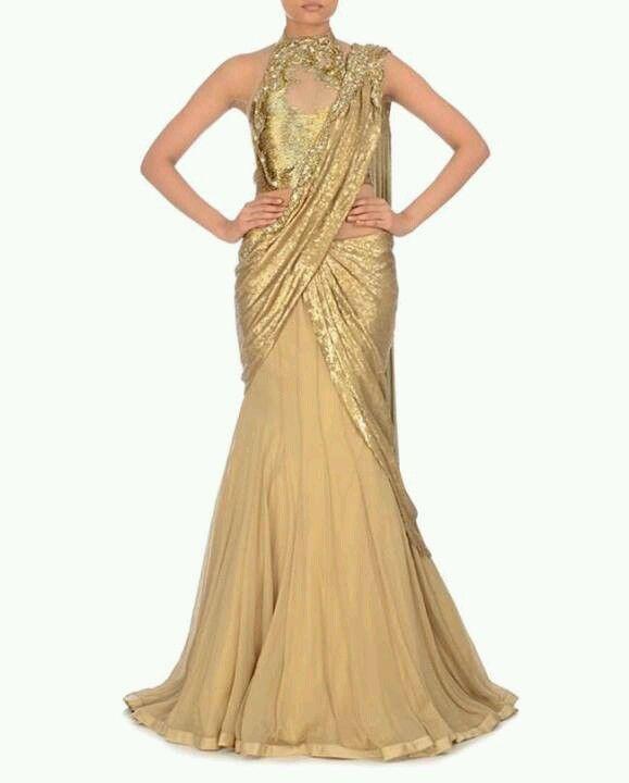 Golden beige lehenga gown